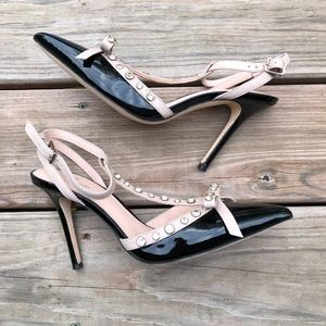 KATE SPADE Lydia Patent Leather Studded Pumps Heel